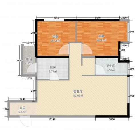 万象上东2室2厅1卫1厨143.00㎡户型图
