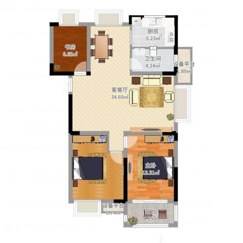 金都华府2室2厅1卫1厨105.00㎡户型图