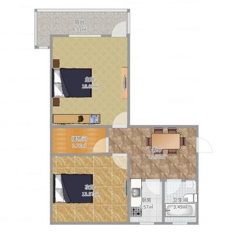 采荷翠柳2室1厅1卫1厨74.00㎡户型图