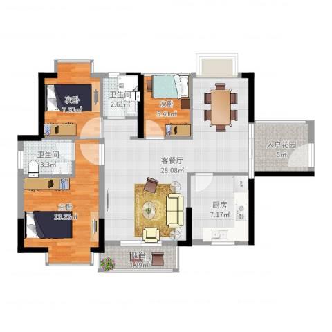 康和花园3室2厅2卫1厨94.00㎡户型图