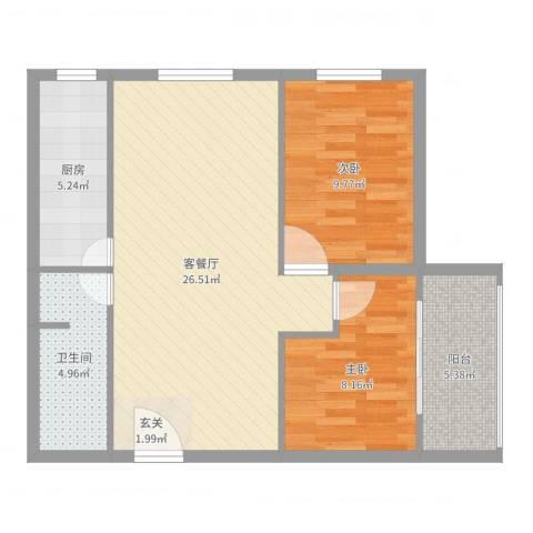 来福花园2室2厅1卫1厨75.00㎡户型图