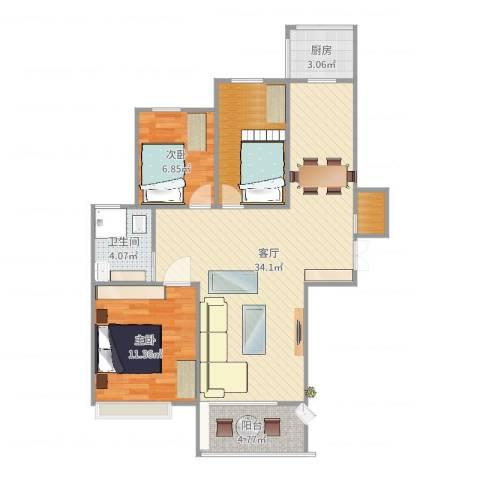 荣昌绿园2室1厅1卫1厨92.00㎡户型图