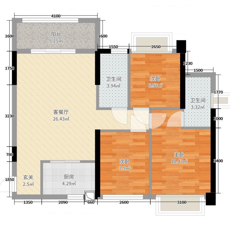 旭日海岸89.01㎡7栋8栋0户型3室3厅2卫1厨