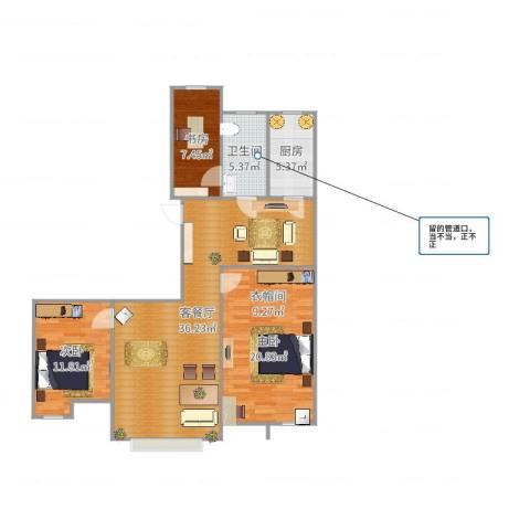 居然青年城3室2厅1卫1厨109.00㎡户型图