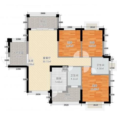 东江学府3室2厅2卫1厨116.00㎡户型图