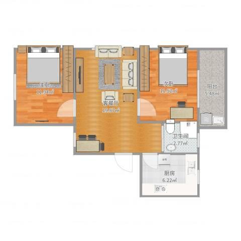 禹洲花园2室2厅1卫1厨72.00㎡户型图