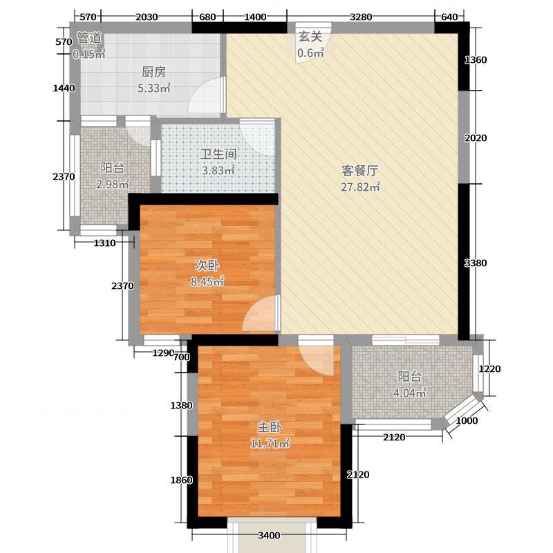 恒大银湖城83.00㎡户型2室2厅1卫1厨