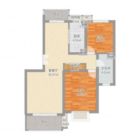 宝地绿洲城南区2室2厅1卫1厨87.00㎡户型图