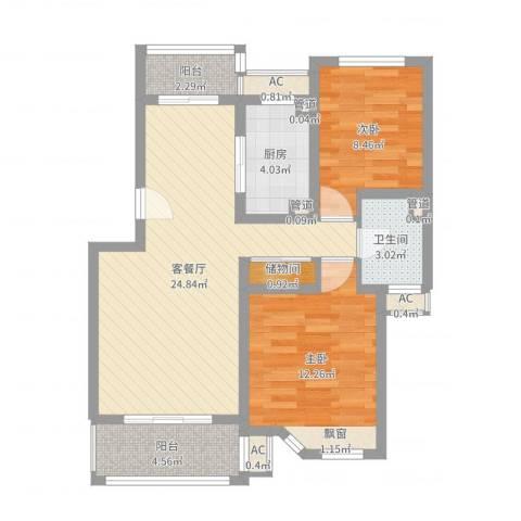 宝地绿洲城南区2室2厅1卫1厨78.00㎡户型图