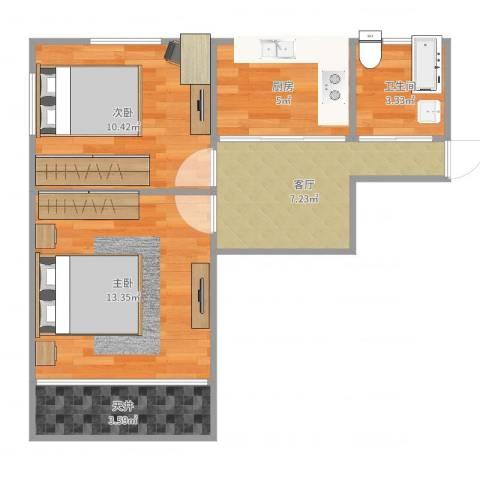 宝钢三村2室1厅1卫1厨54.00㎡户型图