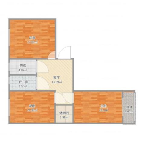 宝钢十村3室1厅1卫1厨95.00㎡户型图