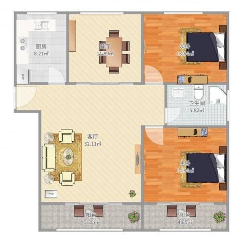 宝钢十一村2室2厅1卫1厨122.00㎡户型图