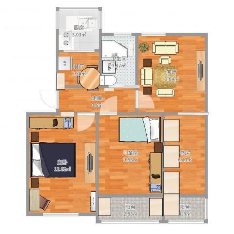 宝钢四村3室2厅1卫1厨69.00㎡户型图