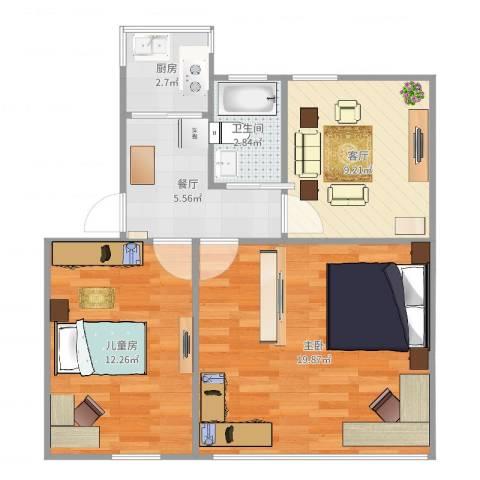宝钢四村2室2厅1卫1厨66.00㎡户型图