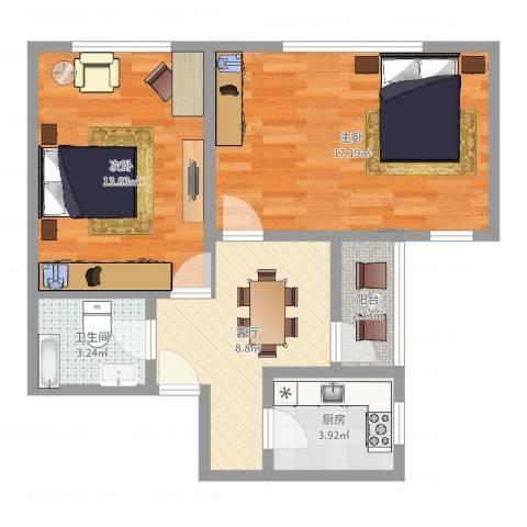 宝钢五村2室1厅1卫1厨62.00㎡户型图