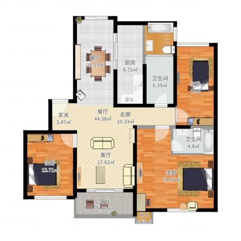 万兆家园叠彩人家3室1厅2卫1厨160.00㎡户型图