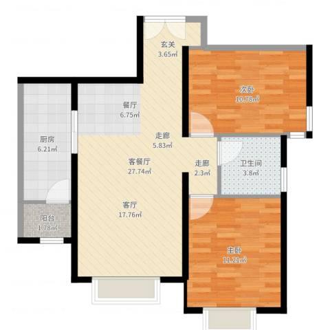 西青区大寺镇2室2厅1卫1厨61.52㎡户型图