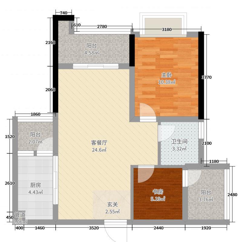 惠阳雅居乐花园73.00㎡3栋03户型2室2厅1卫1厨