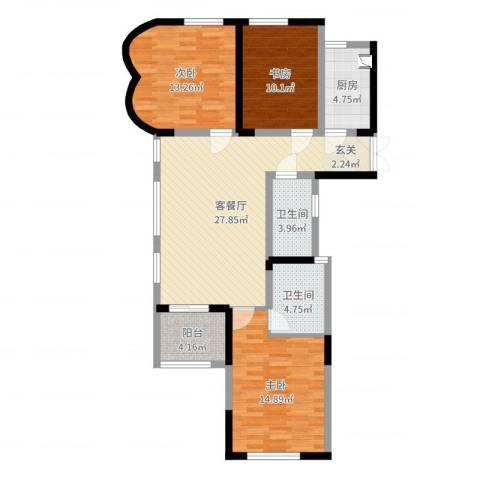 信远朗庭3室2厅2卫1厨105.00㎡户型图