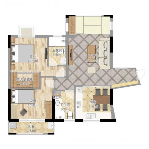 天湖城天源2室1厅2卫1厨92.00㎡户型图