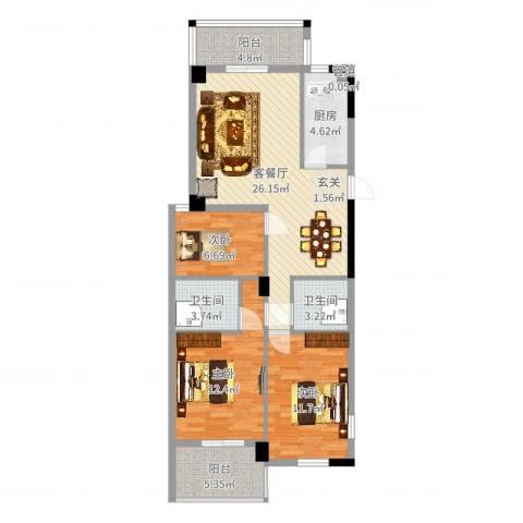 聚龙尚书院3室2厅2卫1厨98.00㎡户型图