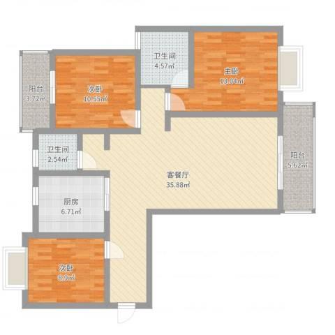 金水华都3室2厅2卫1厨114.00㎡户型图