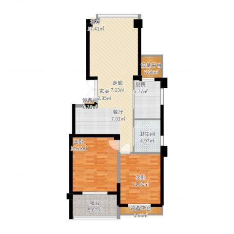 江南一品园2室2厅1卫1厨115.00㎡户型图