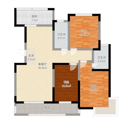 金水华都3室2厅2卫1厨135.00㎡户型图