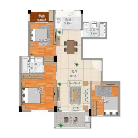 练市镇东方豪园4室1厅2卫1厨113.00㎡户型图
