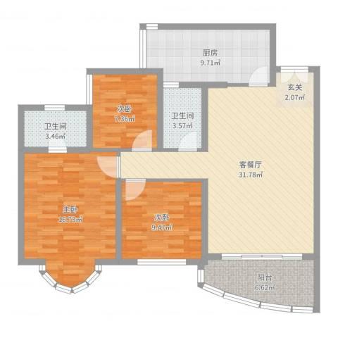 祈福新村倚湖湾3室2厅2卫1厨111.00㎡户型图