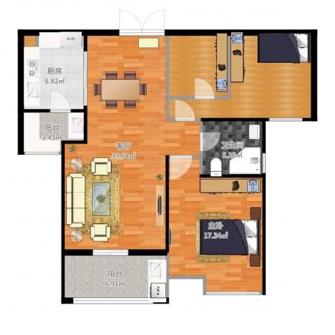 天安曼哈顿1室1厅1卫1厨91.36㎡户型图