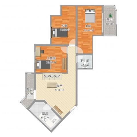 国电中兴嘉园3室1厅1卫1厨90.00㎡户型图