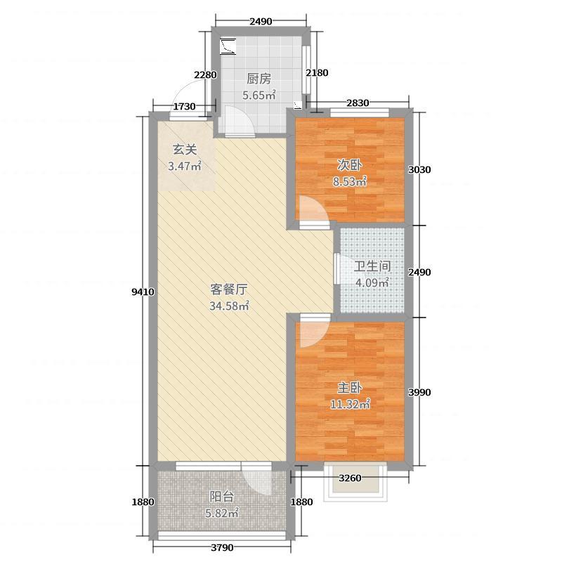 万达・维多利亚湾88.00㎡五期-A1户型2室2厅1卫1厨