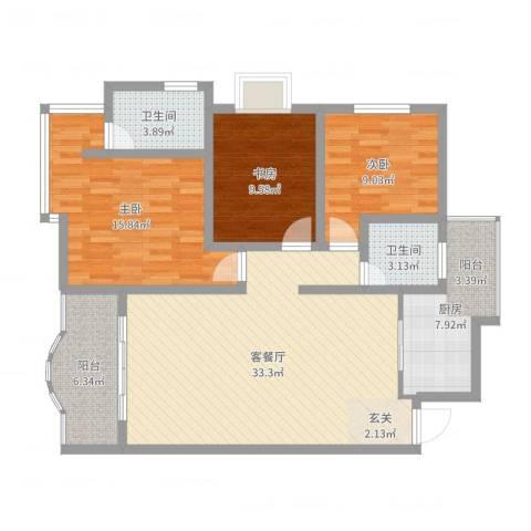 塞纳阳光3室2厅2卫1厨111.00㎡户型图