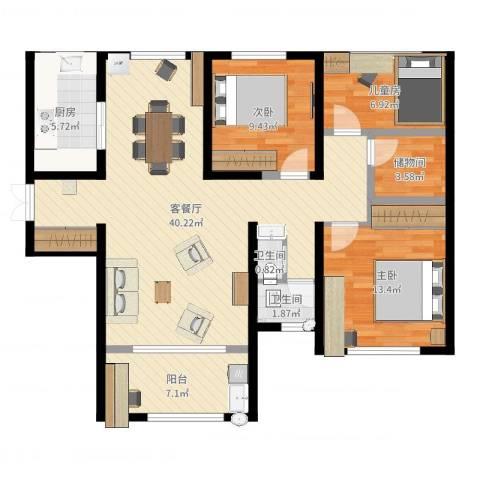 力高阳光海岸3室2厅2卫1厨96.00㎡户型图