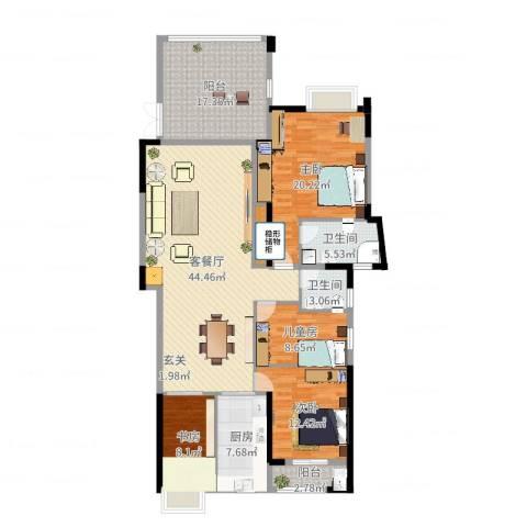 水岸花城4室2厅2卫1厨131.41㎡户型图