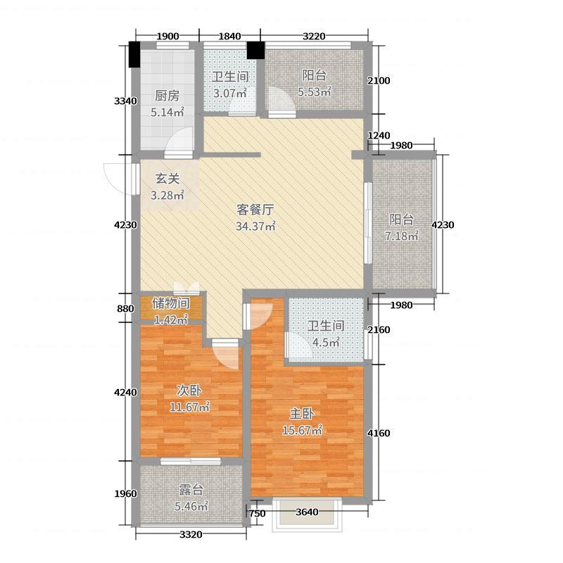 巨龙紫金玉澜118.06㎡G5户型2室2厅2卫1厨