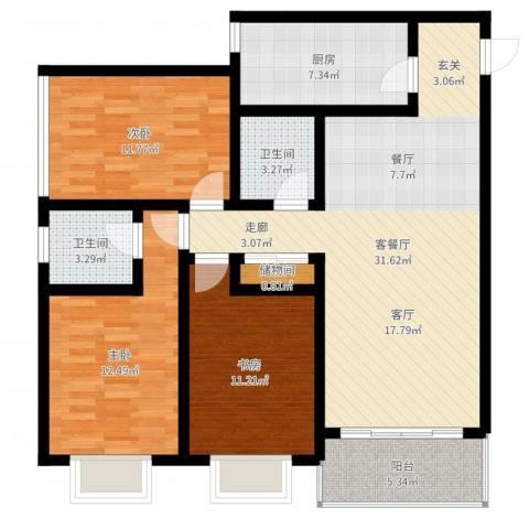 曲江上郡3室2厅2卫1厨109.00㎡户型图