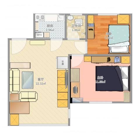 丰泽园2室1厅1卫1厨58.00㎡户型图