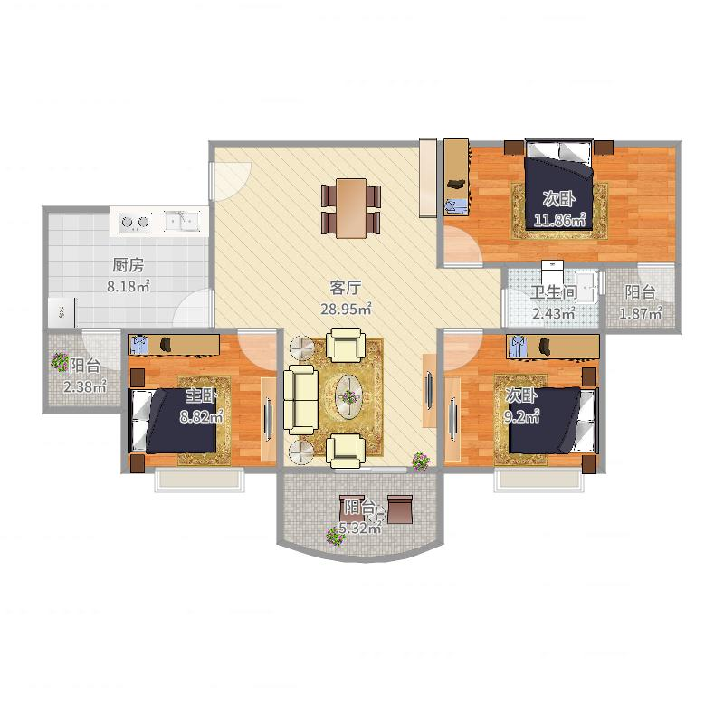东璟花园C座0203单元70方3房2厅1卫