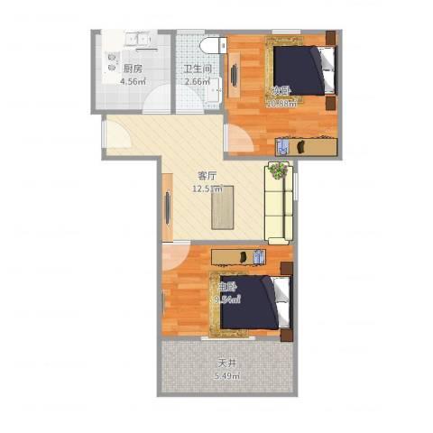 呼玛一村2室1厅1卫1厨45.65㎡户型图