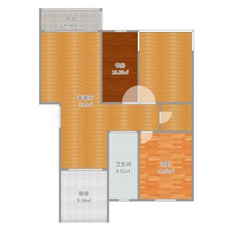 金湖家园2室2厅1卫1厨128.00㎡户型图