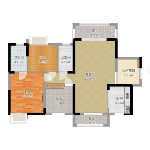 田禾卢浮公馆2室2厅2卫1厨105.00㎡户型图