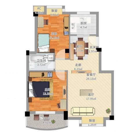 金运花园2室2厅1卫1厨95.00㎡户型图