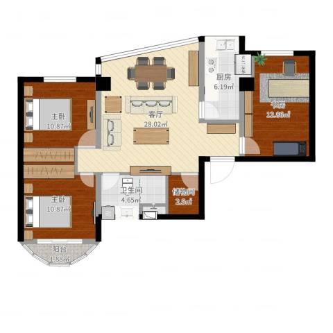 家景花园3室1厅1卫1厨98.00㎡户型图