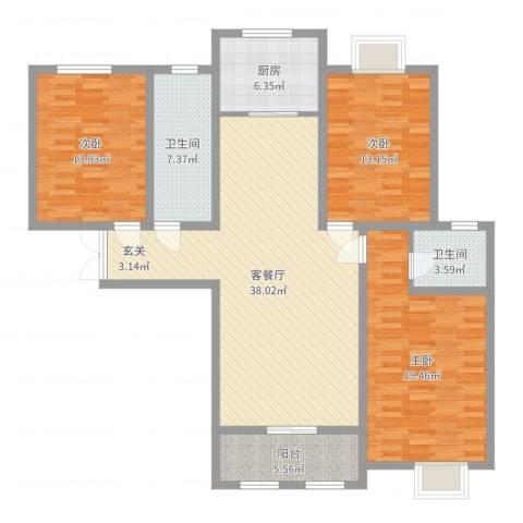 林溪公馆3室2厅2卫1厨134.00㎡户型图