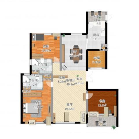 铂金时代3室2厅2卫1厨125.47㎡户型图