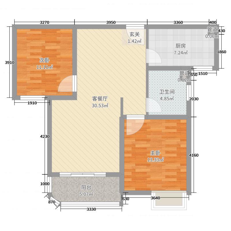 外海中央花园89.75㎡4区2号3号5号6号楼G1-3户型2室2厅2卫2厨