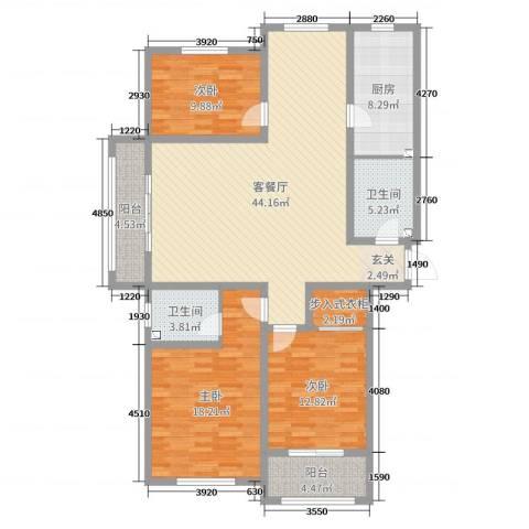 东海・香港城3室2厅2卫1厨142.00㎡户型图