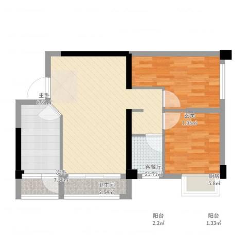 角美中骏四季阳光2室2厅1卫1厨73.00㎡户型图